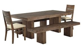 awesome rustic rectangle dark brown wooden dining table set with unfinished wooden dining bench as natural dining room furniture inspirations