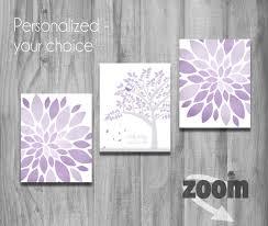 purple lavender gray girls nursery wall art set personalized