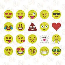 Emoji Embroidery Designs Emoji Machine Embroidery Design Set Of 20 Emojis 3 Sizes