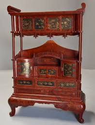 red lacquered furniture. Early 20th Century Japanese Red Lacquered Shodana (cabinet) Furniture