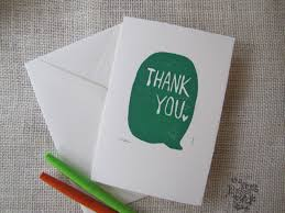 Thank You Block Print Notecards Emerald Green Set Of 3