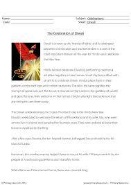 Celebration of Diwali - Comprehension