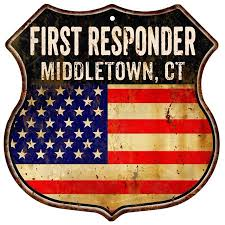 Middletown Walmart Middletown Ct First Responder American Flag 12x12 Metal Shield Sign S123097