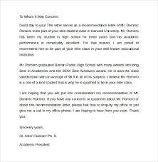 Student Recommendation Letter Sample Recommendation Letter 8 Samples Examples Formats