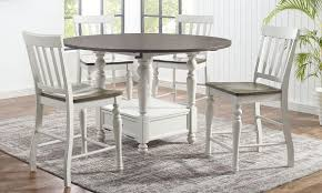 80cm round dining table and 4 chairs set patchwork fabric solid wood home white. Joanna 5 Piece Round Counter Height Farmhouse Dining Set The Dump Luxe Furniture Outlet