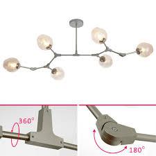 Details Zu 6x E27 Led Deckenlampe Deckenleuchte Drehbar Silber Glas Hängelampe Kronleuchter