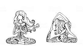 ヨガのポーズの 2 人の女の子 いたずら書きのベクターアート素材や画像