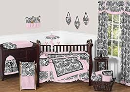 Amazon Com Sweet Jojo Designs 9 Piece Pink And Black Damask Sophia