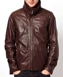 men s high neck collar brown leather jacket