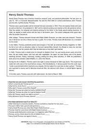 henry david thoreau reading worksheet esl printable  henry david thoreau reading