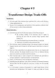 Transformer Design Parameters Chapter 5