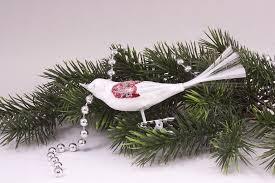 1 Vogel Eisweiss Mit Rot Silberner Glitter Christbaumschmuck Aus Lauscha