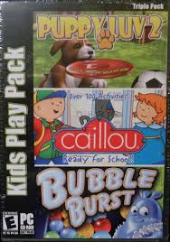 details about new sealed kids play triple pack puppy luv 2 love caillou bubble burst pc game