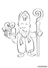 Sinterklaas Vector Illustratie Met Kado En Staf Stock Image And