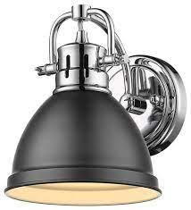 1 Light Chrome Bath Light With Matte Black Shade Traditional Bathroom Vanity Lighting By Designer Lighting And Fan Houzz