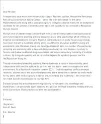 Sample Law Cover Letters Entry Level Legal Assistant Cover Letter