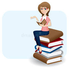 cartoon woman reading book on stack of book stock vector ilration of read