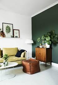 green living room. perfect for the \u0027greenery\u0027 trend - lime sofa, dark green walls, botanical living room |