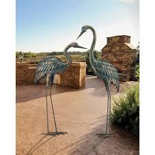 metallic patina crane garden statuary