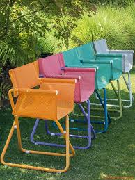 folding metal directors chairs. snooze r | garden chairs with metal structure varnished in orange, lilac, blue, folding directors