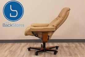 stressless sunrise office desk leather recliner chair by ekornes