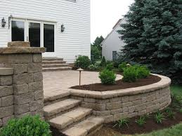 Small Picture paver patios with lighting Raised Patio Seat wall Landscape