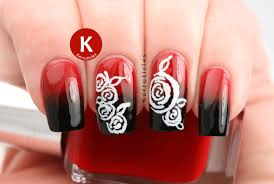 Nail Art Design Red and White Roses - Awesome Design
