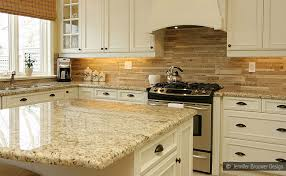 Contemporary white kitchen granite countertops with tile backsplash
