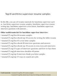 Lunch Supervisor Resume Sample top60lunchtimesupervisorresumesamples60lva60app66092thumbnail60jpgcb=6060323602603 2