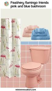 decorate a pink and blue tile bathroom