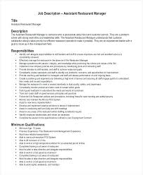 Examples Of Restaurant Manager Resumes Food Job Description Template ...