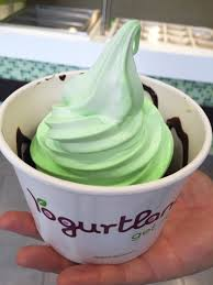 walk to the lucky mint crème handle and pour yourself a second and final layer of frozen yogurt make it pretty