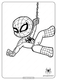 Web slinging spider man coloring page. Cute Spiderman Coloring Pages For Kids