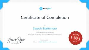 Certificate Of Completeion Certificate Of Completion Verified On Ethereum Blockchain
