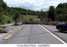 Debris In Road Debris Stretched Across A Paved Roadway After A
