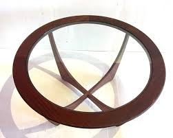 beautiful and unique solid walnut round coffee table with glass insert gorgeous base in the
