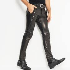 men s leather pants skinny moto biker punk rock pants slick smooth shiny leather trousers tight iest