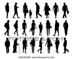 Big Set Of People Walking Silhouettes Set 3 Stock Illustration