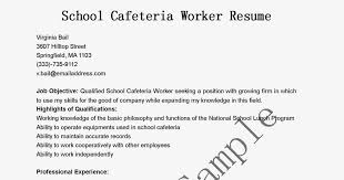 Cafeteria Worker Resume Extraordinary Cafeteria Worker Resume Colbroco