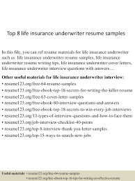 top8lifeinsuranceunderwriterresumesamples 150606015138 lva1 app6891 thumbnail 4 jpg cb 1433555551