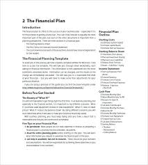 small business startup plan sample sample of financial plan in business plan financial advisor business