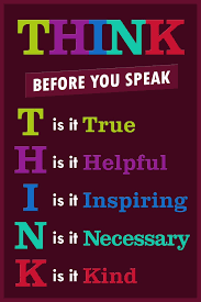 Classroom Sign Think Before You Speak Motivaltional Inspirational Educational Rules Teacher Supplies School Toddler Kids Elementary Learning