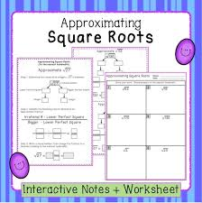square root worksheets consecutive numbers square roots estimation interactive notes and worksheet 8 ns