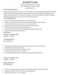 Training Specialist Resume Inventory Control Specialist Resume 1