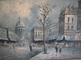 ine c burnett oil painting paris scene signed 36l for
