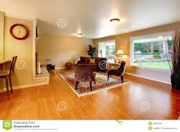 Wide Chairs Living Room Elegant Warm Color Furnished Living Room With Wide Windows Stock