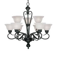 millennium lighting devonshire 29 in 9 light black wrought iron alabaster glass tiered chandelier