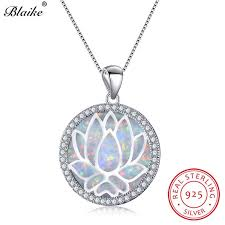 necklaces directly from china suppliers blaike 925 sterling silver rainbow lotus flower pendants white blue fire opal birthstone necklaces for