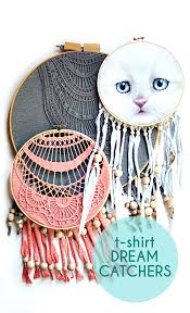 Dream Catcher Shirt Diy Upcycled Dreamcatcher DIY Embroidery hoop Dreamcatcher Craft 14
