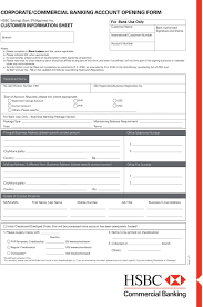 Business Account Application Corporate Commercial Banking Account Opening Form Pdf